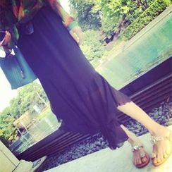 DreamyShow - Hanky Hem Chiffon Midi Skirt