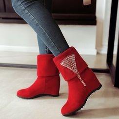 Pastel Pairs - Rhinestone Mid-Calf Boots