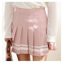 Sechuna - Inset Shorts Mini Pleated Skirt