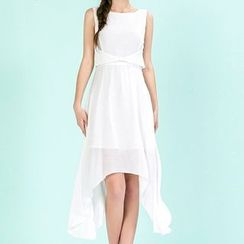 Strawberry Flower - Plain Frilled Sleeveless Chiffon Dress