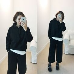 STYLEBYYAM - Set: Hooded Pullover + Drawstring-Waist Sweatpants