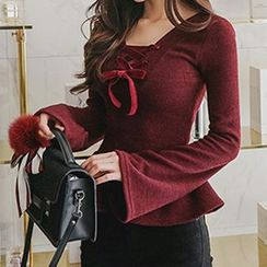 Queen Bee - Bell-Sleeve Lace Up Peplum Top