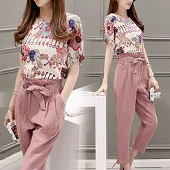 Ashlee - 套装: 钥匙印花短袖上衣 + 腰结带七分裤
