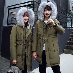 Evolu Fashion - Couple Matching Furry Trim Hooded Down Coat