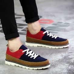 Main Road - Color Panel Lace Up Boat Shoes
