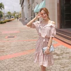 Cherryville - Floral Print Cold Shoulder Elbow-Sleeve Dress
