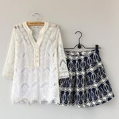 Munai - Set: Lace Blouse + Patterned Skirt