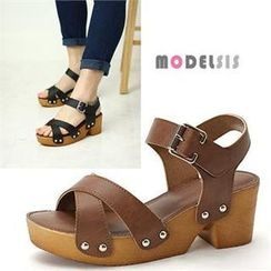 MODELSIS - Cross Strap Chunky-Heel Sandals