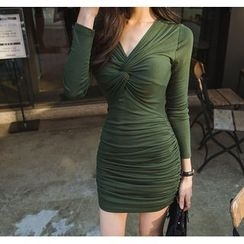 Gl.bY - Knotted Front Long Sleeve Ruched Sheath Minidress