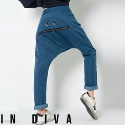 FASHION DIVA - Eye-Embroider Zip-Trim Harem Jeans