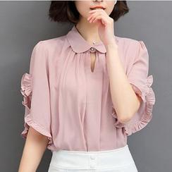 Fumoya - 前领孔荷叶边雪纺衬衫