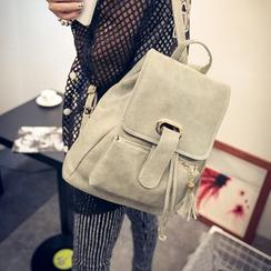 Seok - Tasseled Faux Leather Backpack
