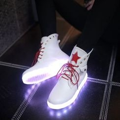 JY Shoes - LED Lace Up Ankle Boots