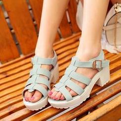 幸福鞋坊 - 飾帶厚底涼鞋