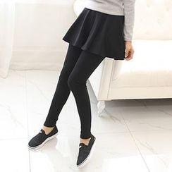 florelle - Fleece Lined Inset Skirt Leggings