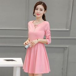 Sienne - Perforated A-Line Long Sleeve Dress