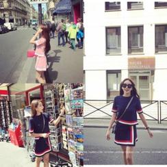 Whitney's Shop - Set: Stripe Short-Sleeve Sweater + Knit Wrap Front Skirt