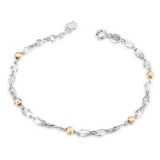 MaBelle - 14K Italian Tri-Color Gold Swirling Segment Diamond-Cut Beads Bracelet, Women Girl Jewelry in Gift Box