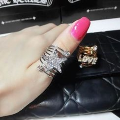 Ticoo - Rhinestone Layered Ring