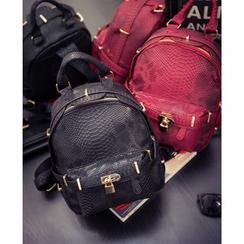 Merlain - Snakeskin Pattern Faux Leather Backpack