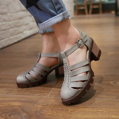 Pretty in Boots - Block Heel Roman Sandals