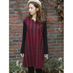 LOLOten - Plaid Wool Blend Shift Dress