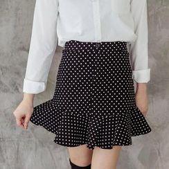 Tokyo Fashion - Ruffle-Hem Polka Dot Skirt