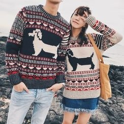 Simpair - Couple Matching Dog Patterned Sweater