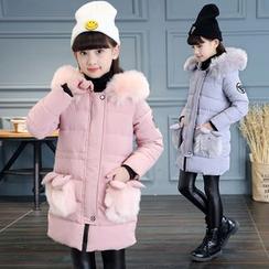 Pegasus - 童装毛毛连帽夹棉大衣