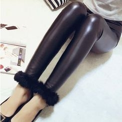 Honeydew - Furry Trim Faux Leather Leggings