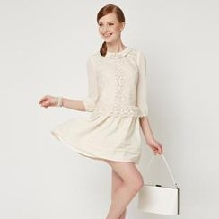 O.SA - 3/4-Sleeve Embroidered Dress