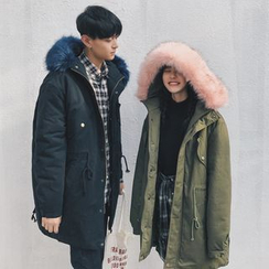 Simpair - Couple Matching Furry Trim Hooded Parka