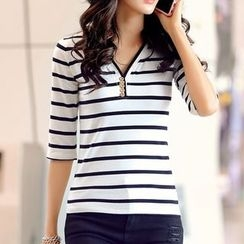 Zyote - Striped V-Neck T-Shirt