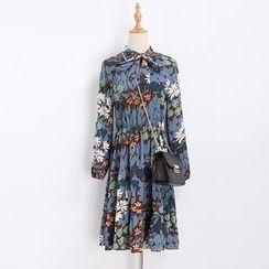 Katie Bloom - Floral Print Long Sleeve Chiffon Dress