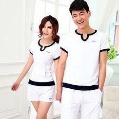 Tabula Rasa - Couple Matching Set: Piped Split-neck T-shirt + Shorts