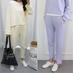 PINKSISLY - Set: Round-Neck Pullover + Asymmetric-Hem Sweat Pants
