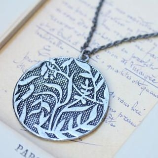 Fit-to-Kill - Vintage engrave Leaves Necklace -Silver