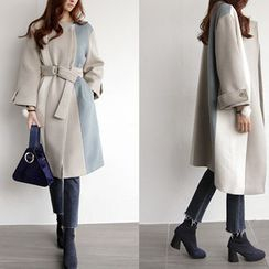 NIPONJJUYA - Color-Block Wool Blend Belted Long Coat