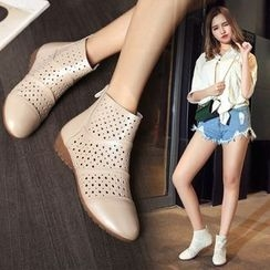 Shoes Galore - Perforated Ankle Boots