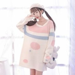 Moriville - Striped Dotted Sweater Dress
