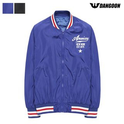DANGOON - Contrast-Trim Lettering Bomber Jacket