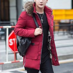 Recluso - Faux Fur Trim Hooded Padded Jacket