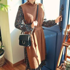 HOTPING - Mock-Neck Long Knit Vest With Belt