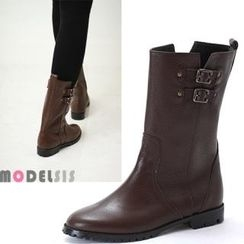 MODELSIS - Genuine Leather Buckled Boots