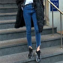 LIPHOP - Seam-Front Asymmetric-Hem Jeans