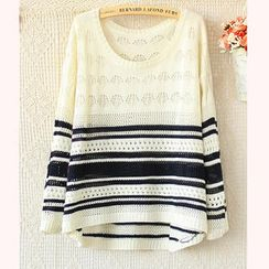 Ringnor - Striped Open-Knit Top