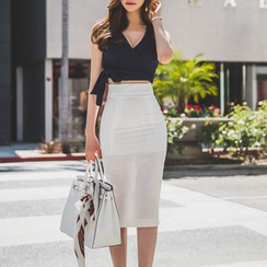 Aurora - Set: Tied Cropped Top + Pencil Skirt