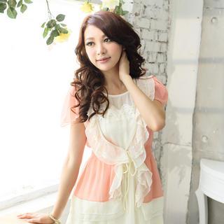 Tokyo Fashion - Lace-Trim Ruffled Chiffon Cardigan