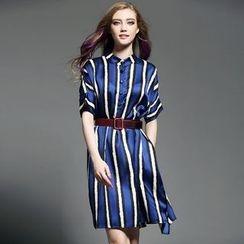 歐依潮派 - 短袖條紋連衣裙