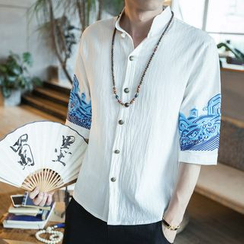 Sheck - Elbow-Sleeve Mandarin Collar Embroidery Shirt